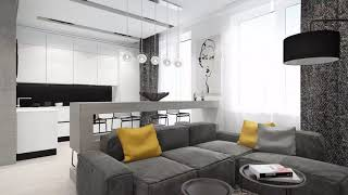 Male look at modern interior → Interior of the male living room ➤ Living room furniture & Decor