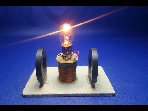 12v  generator with light bulb Free energy - New Science Experiment project at home