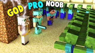 Minecraft Battle: NOOB vs PRO vs GOD ZOMBIE APOCALYPSE Challenge in Minecraft