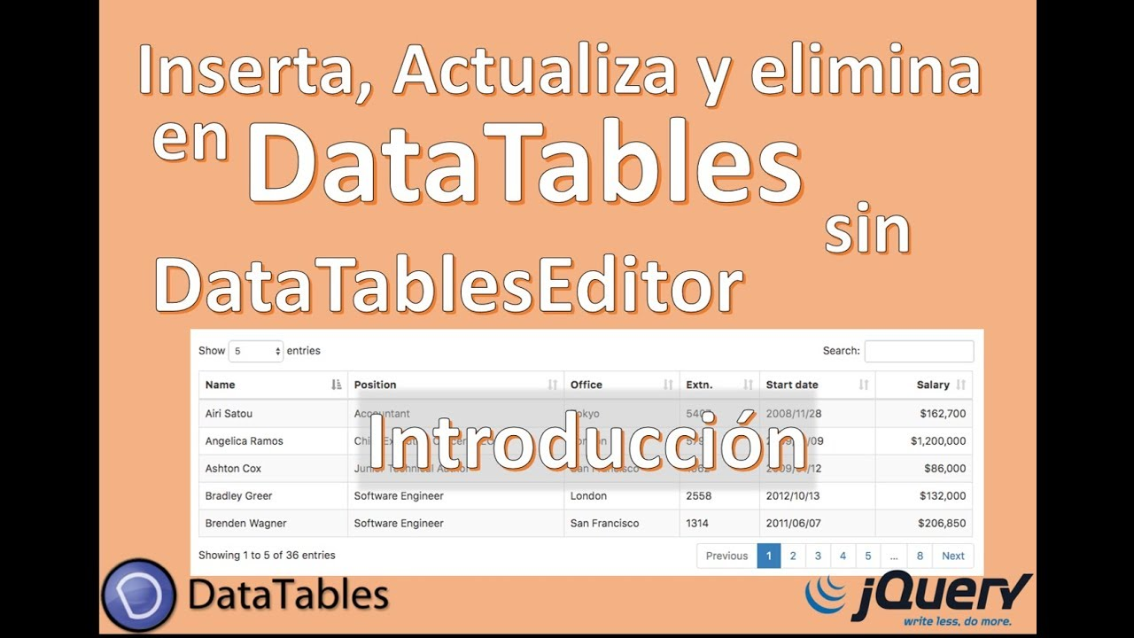 DataTables with Jquery Editor, Ajax - Introduction - Course
