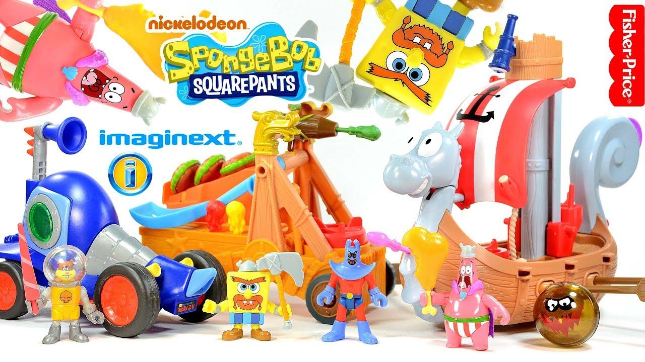 Imaginext SpongeBob SquarePants Viking Ship Chummy Patty Catapult plus Man  Ray & Hot Rod