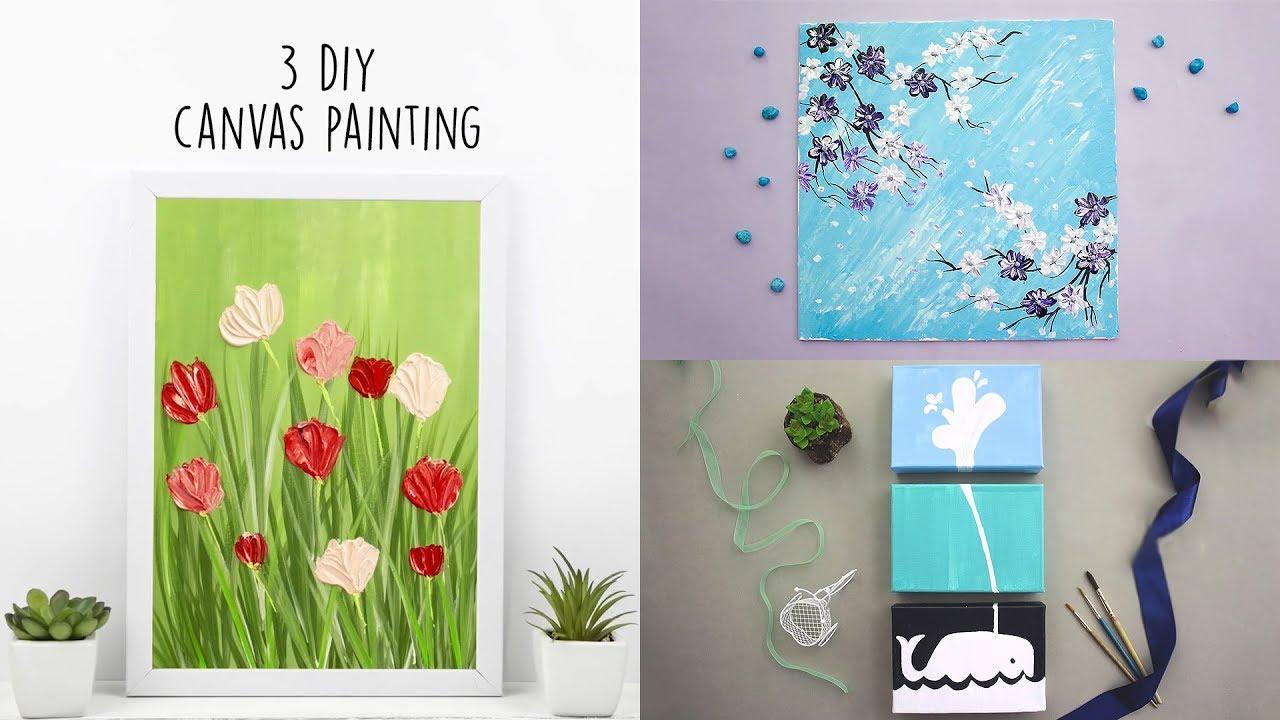 3 Diy Canvas Painting Acrylic Home Decor Youtube