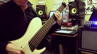 Funky half-time jazz fusion bass solo