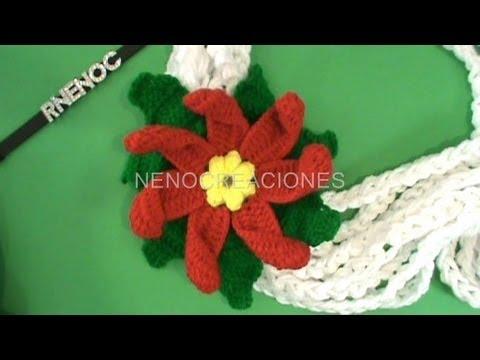 Como tejer flor nochebuena chica adorno navide o muy - Como hacer flores de ganchillo ...