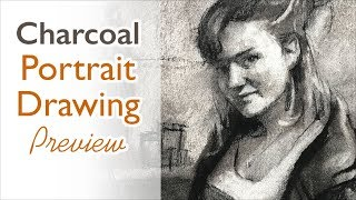 Charcoal drawing techniques - portrait drawing - preview