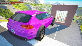 High Speed Jumping through Freeze Wall Crashes - BeamNG drive
