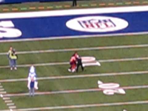 Colts mascot tackles streaker
