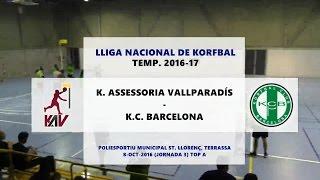 vallpa kcb j3 top a lliga nacional de korfbal 2016 17