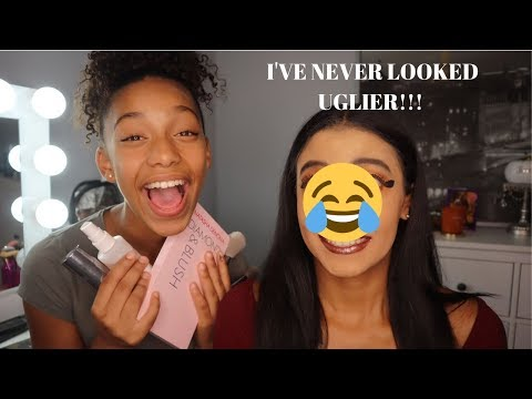 My little sister does my makeup challenge ! (WARNING: It might give you nightmares LOL)