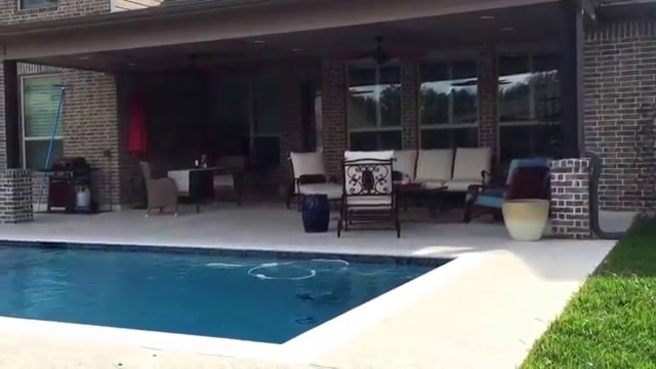 Texas Patio Cover , Fire Pit , Spray Deck , Flush Spa , Base Geometric Pool