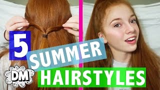 5 EASY Hairstyles For Summer 2017! | Alyssa Vlogs