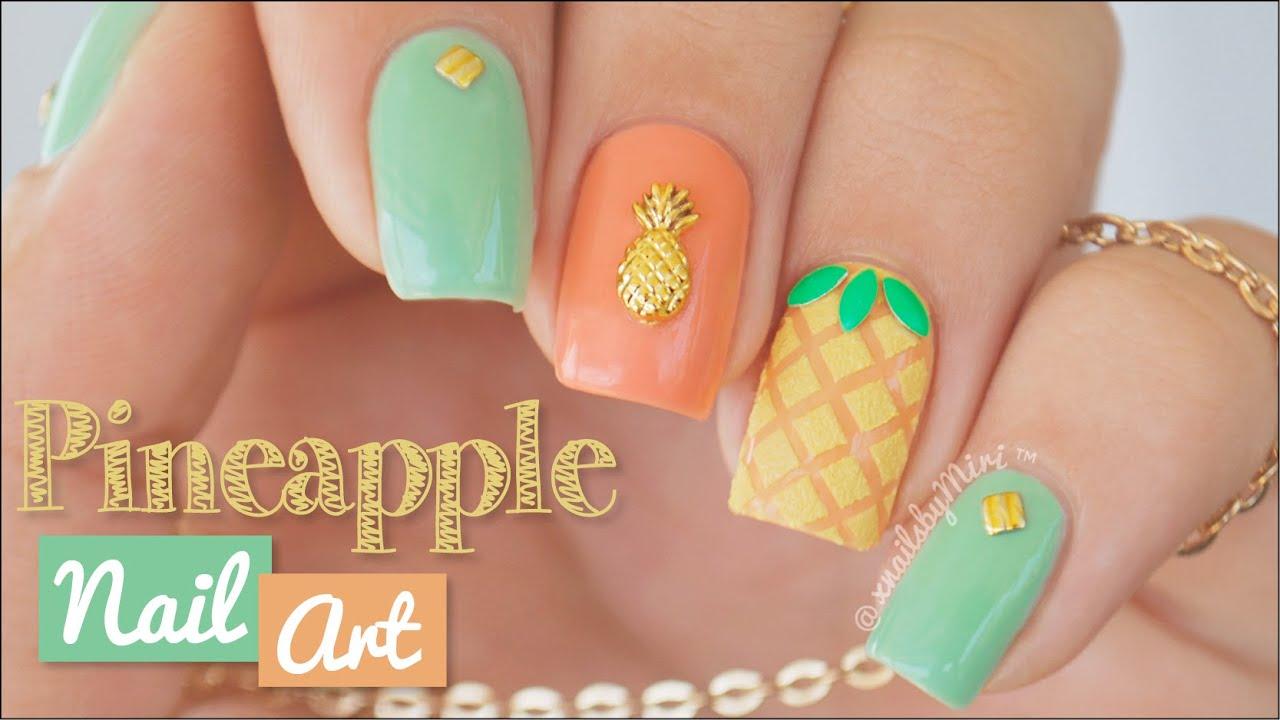 Pineapple Nail Art - Pineapple Nail Art - YouTube