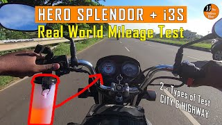HERO SPLENDOR PLUS i3S || REAL WORLD MILEAGE TEST || CITY & HIGHWAY