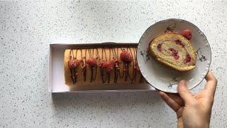 Безглютеновый бисквитный рулет с йогуртовым кремом / Безглютеновые рецепты
