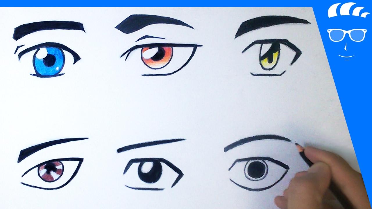 طريقة رسم 6 عيون انمي مانجا للمبتدئين عيون ذكور Youtube