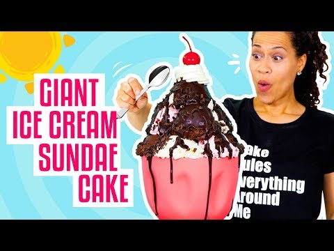 How To Make A Giant Ice Cream Sundae out of CAKE for My BIRTHDAY!   Yolanda Gampp   How To Cake It