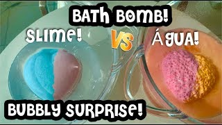 BATH BOMB NA SLIME VS BATH BOMB NA ÁGUA! LOL BUBBLY SURPRISE! LOL HAIR GOALS! PET SURPRISE! SLIMES !