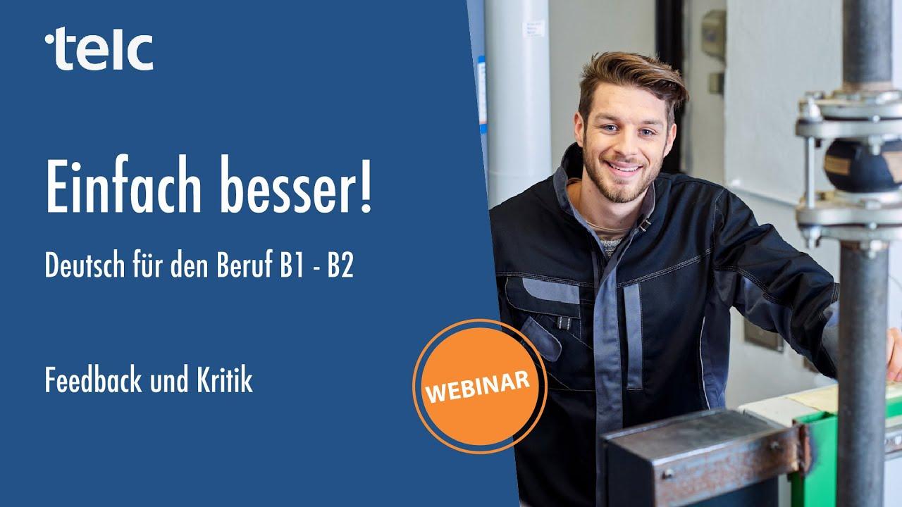 Einfach Besser Deutsch Für Den Beruf B1b2 Feedback Und Kritik