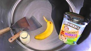 Ice Cream Rolls | how to make Ben & Jerry's Chunky Monkey Banana to rolled Ice Cream | Food ASMR