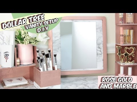 DOLLAR TREE ROSE GOLD AND MARBLE VANITY DIY