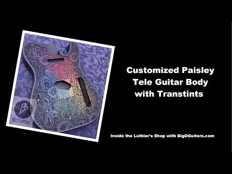 Customized Tele Paisley Guitar body with Transtint Stains and Swarovski Crystals