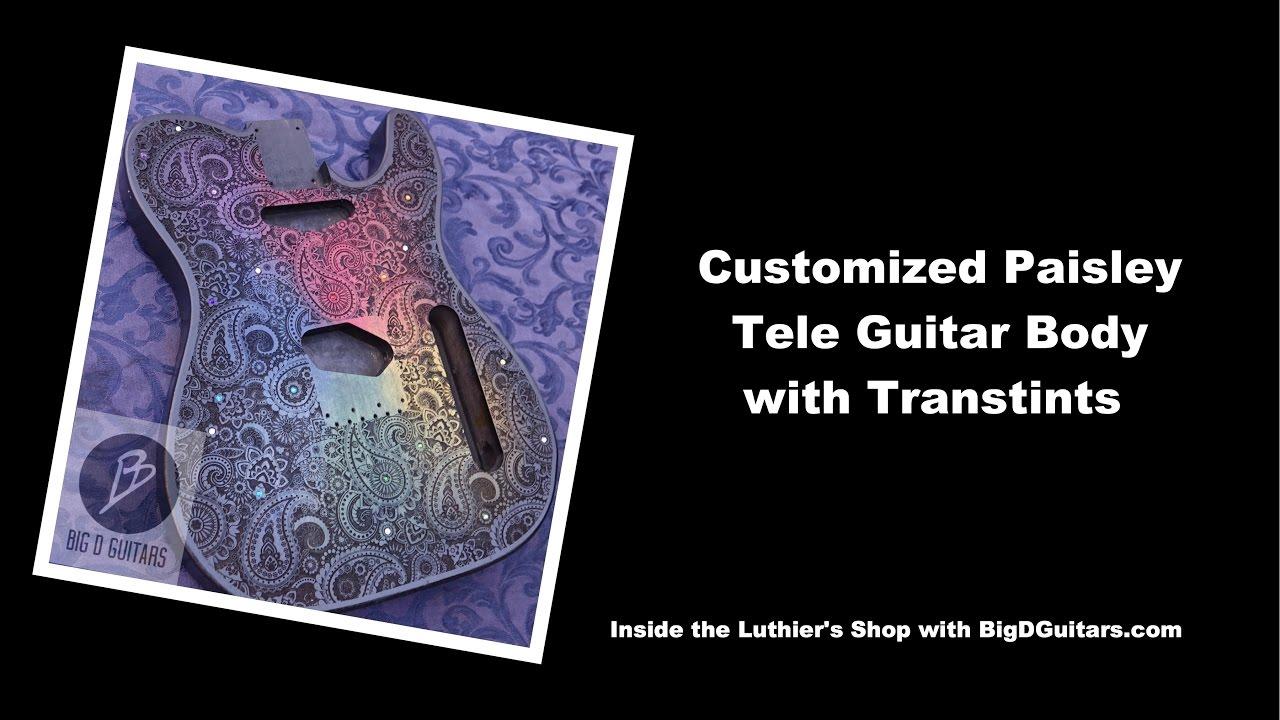 01c073e0208 Customized Tele Paisley Guitar body with Transtint Stains and Swarovski  Crystals. BigDGuitars