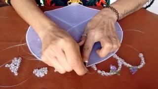 Fazendo cobre jarra modelo 2 de tule e pedraria