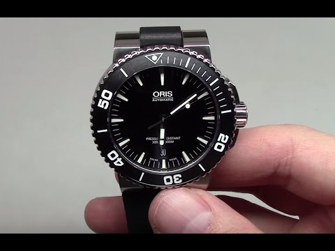 Oris Aquis Date Black Men s Diver Watch Review Ref  73376534154RS ... ee191403e92