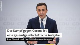 Auf der pressekonferenz im anschluss an die digitalen sitzungen cdu-gremien hat generalsekretär paul ziemiak menschen appelliert, sich weiter d...