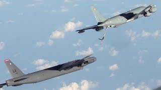 French C-135FR Air Tanker Air-to-air Refueling with USAF B-52 Stratofortress