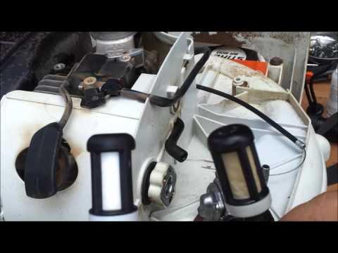 stihl br600 fuel line maintenance + dual fuel filter setup
