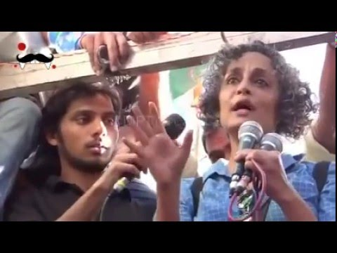 Arundhati Roy speech at JNU protest with kanhaiya Kumar |  March for Democracy JNU row