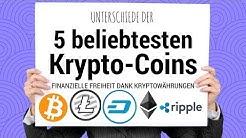 Unterschiede der TOP 5 unserer beliebtesten Krypto-Coins deutsch Bitcoin Ripple LiteCoin Ether Dash
