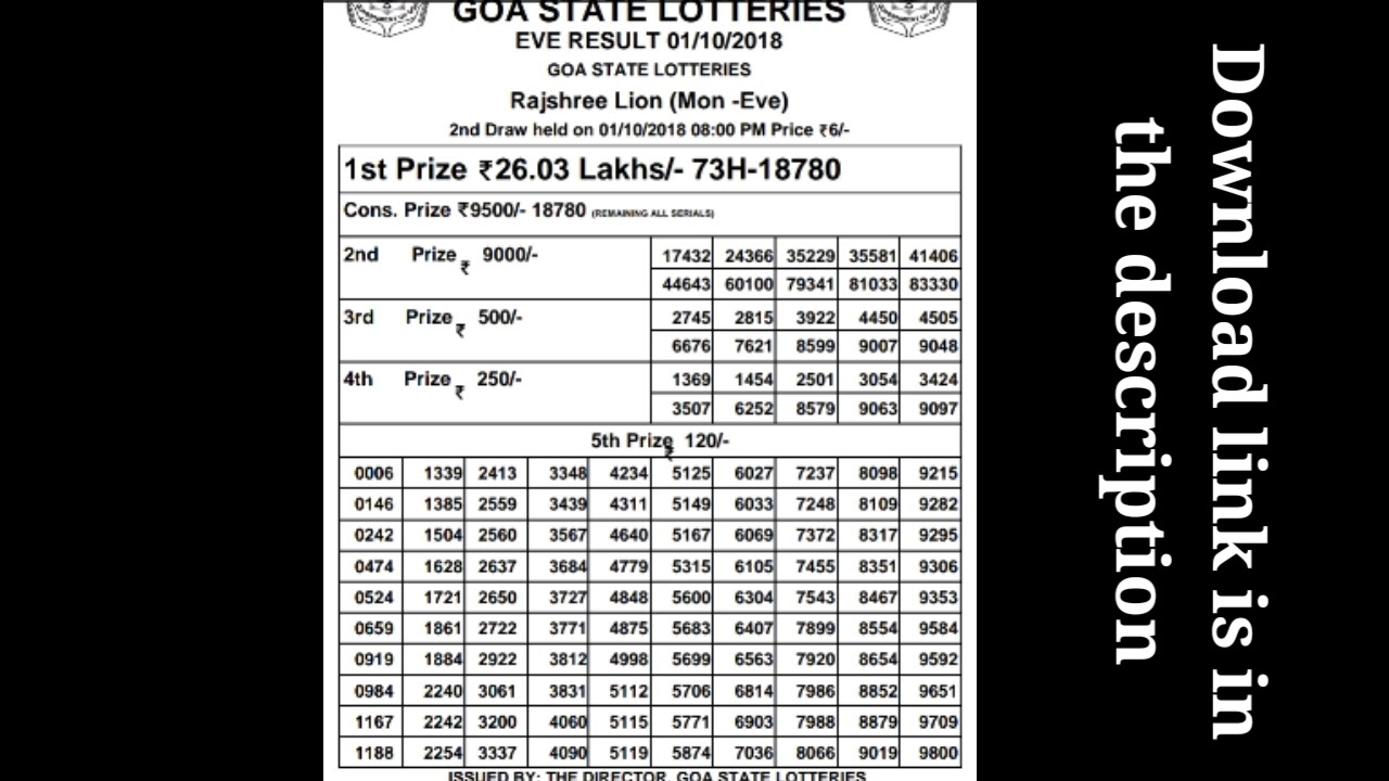 Rajashree lottery result night 01/10/2018 Goa lottery - YouTube