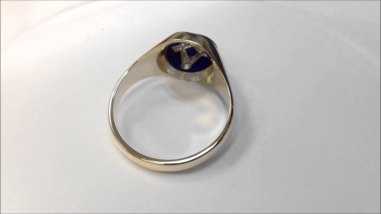 9ct Yellow Gold Square and pass Masonic Ring Blue Enamel
