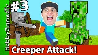 Minecraft CREEPER + SKELETON Attack! Build New House Xbox 360 HobbyGamesTV