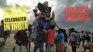 Lord Ganesha Idol immersion | exclusive coverage of ganesh idol immersion in marina beach chennai |