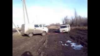 УАЗ 39099 Буханка поперек Ураловской колеи