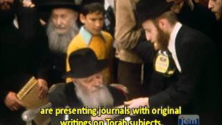 A farbrengen on the occasion of the Rebbe's 74th birthday
