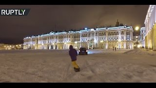 Speed & snow: Russian boarder shreds majestic Palace Square in St. Petersburg
