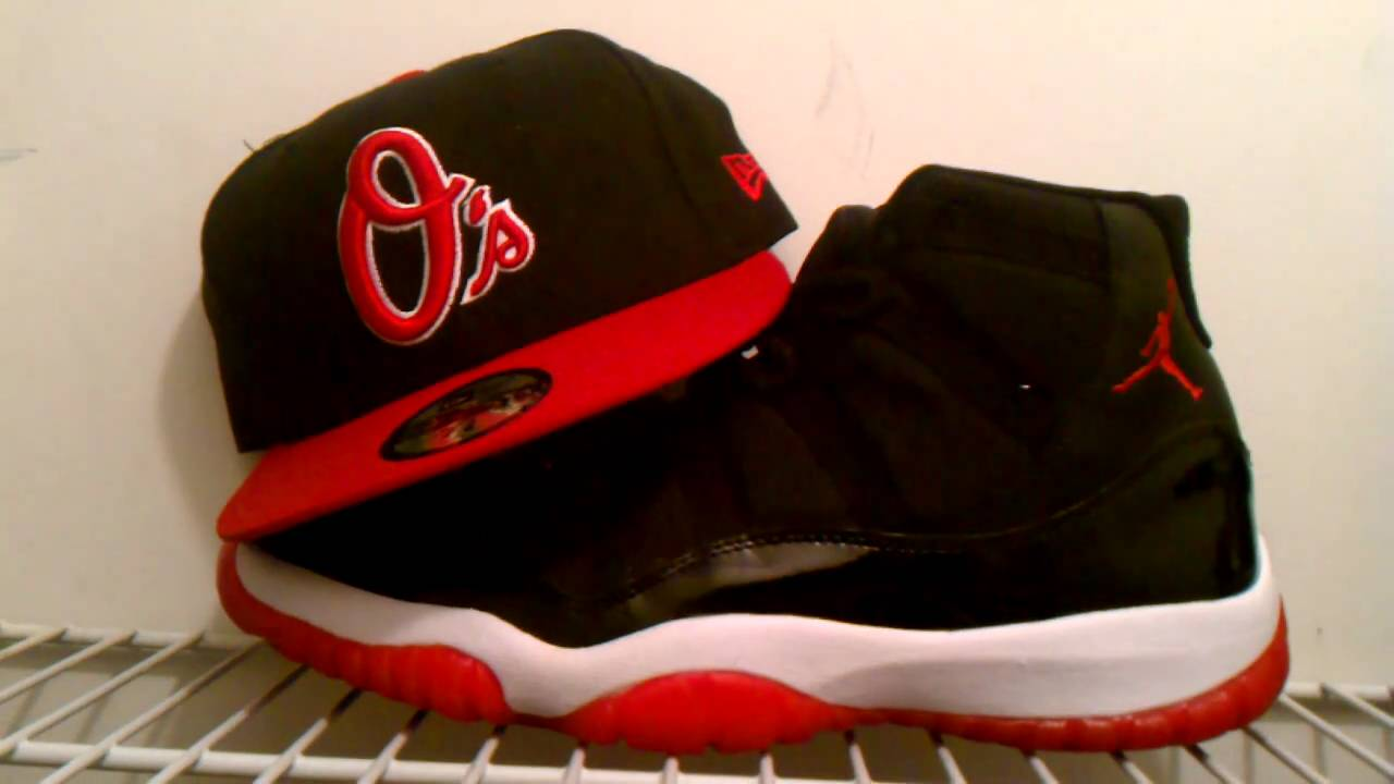 cd7844e2a2becd Nike Air Jordan Retro Bred 11s xi w  New Era Black Red White Baltimore  Orioles Fitted Cap
