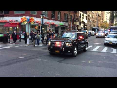 PRESIDENT ELECT DONALD TRUMP & MOTORCADE ARRIVING AT HIS LOCALLY ASSIGNED POLLING PLACE TO VOTE, NY.