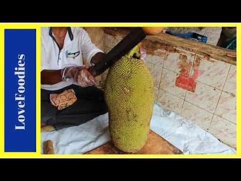 FRUIT NINJA of RAW JACKFRUIT | Amazing Jackfruit Fruits Cutting Skills | Indian Street Food In 2018