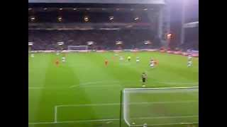 Maxi Rodriguez goal, celebration and song- Liverpool fans away at Blackburn 10/4/2012