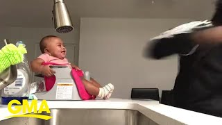 Baby laughs hysterically at dad's boxing moves