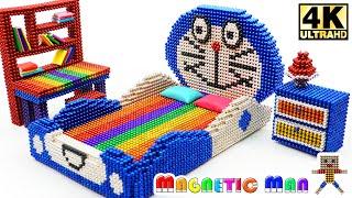 ASMR - DIY How To Make Bedroom Doraemon from Magnetic Balls (Satisfying)   Magnetic Man 4K