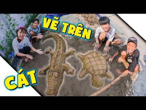 Thử Thách Vẽ Trên Cát Vẽ Rùa Và Cá Sấu - Tuổi Thơ Dữ Dội ❤ KN CHENO Chị Hằng