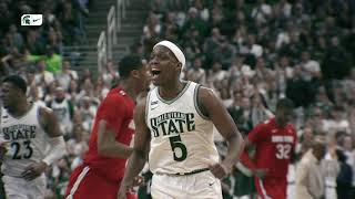 Senior guard cassius winston scored 27 points to lead four players in double figures as michigan state beat ohio state, 80-69, clinch a share of the big t...
