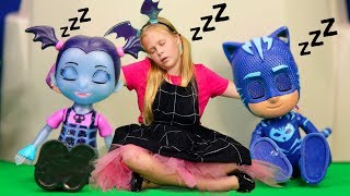 Assistant with PJ Masks Wolfy Kids Take Candy from Vampirina' Costume Party