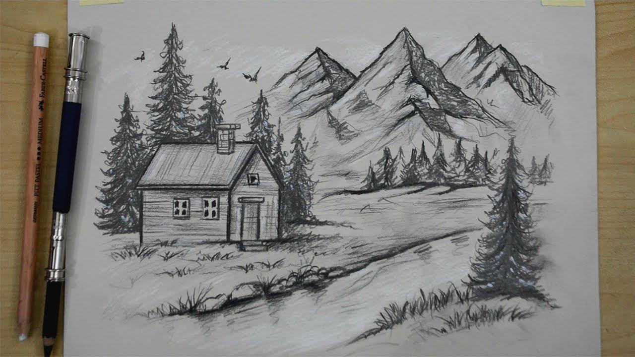 تعلم رسم منظر طبيعي بالرصاص خطوة بخطوة بشكل احترافي خطوات رسم